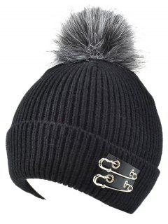 Safe Pin Fuzzy Ball Knit Hat - Black