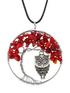 Life Tree Owl Natural Stone Necklace - Red