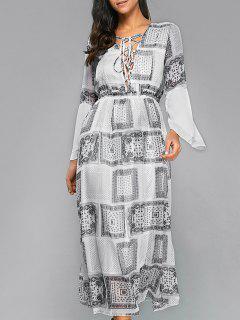 Ethereal Printed Maxi Dress - Blanc S