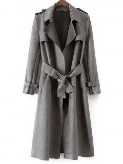 Faux Suede Long Trench Coat - Gray L