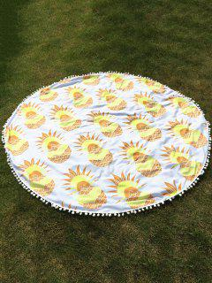 Pineapple Print Tassel Round Beach Throw - White
