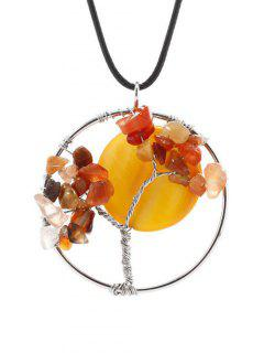 PU Leather Natural Stone Life Tree Necklace - Yellow