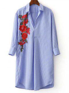 Three Quarter Sleeve Striped Appliqued Shirt - Blue And White L