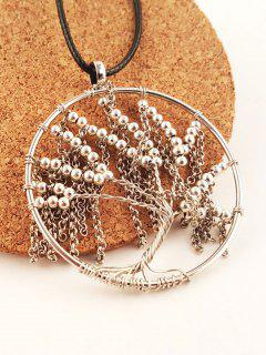 Faux Leather Life Tree Beaded Necklace - Silver