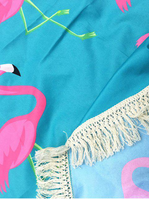 outfit Flamingo Print Tassel Round Beach Throw - LIGHT BLUE ONE SIZE Mobile