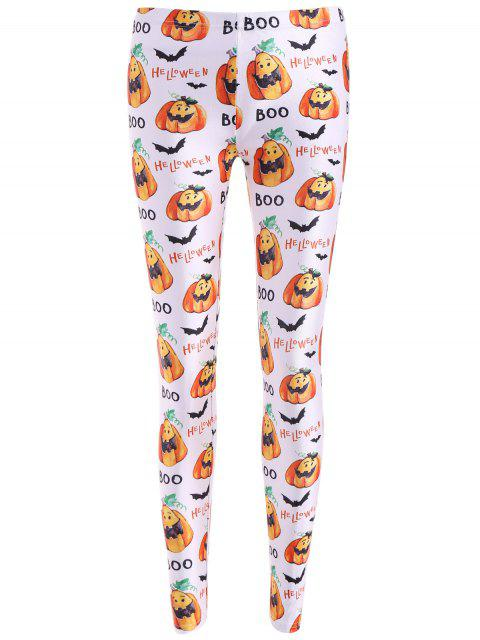 Bat de Halloween de impresión leggings - Blanco M Mobile