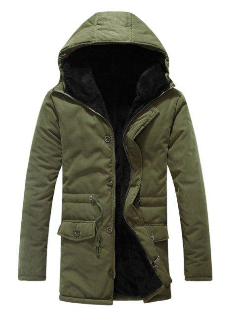 lady Drawstring Zipper Button Hooded Padded Coat - ARMY GREEN M Mobile