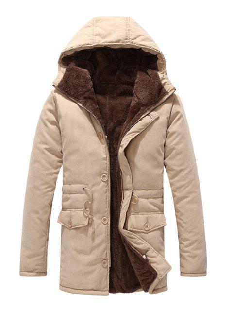 fancy Drawstring Zipper Button Hooded Padded Coat - LIGHT KHAKI L Mobile