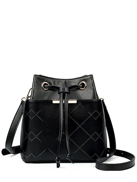 chic Geometric Pattern Drawstring Metal Crossbody Bag - BLACK  Mobile