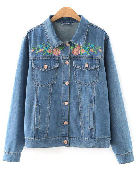 unique Floral Embroidered Denim Jacket With Pockets - DENIM BLUE L Mobile