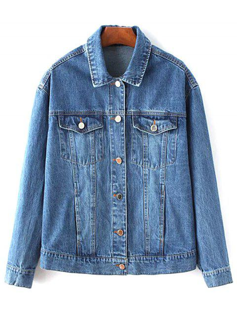women Denim Embroidered Jacket With Pockets - DENIM BLUE S Mobile