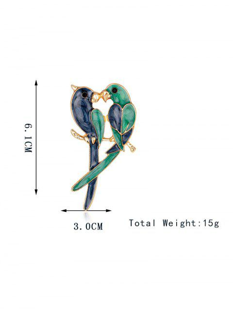 women Two Parrots Enamel Brooch - BLUE AND GREEN  Mobile