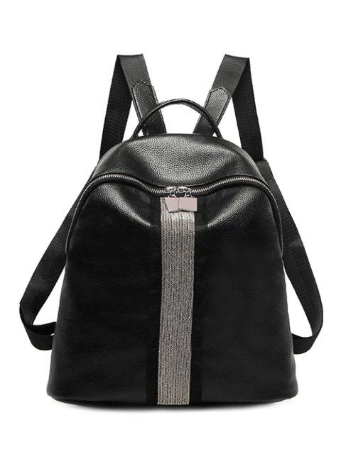 new Beading Metal Textured Leather Backpack - BLACK  Mobile
