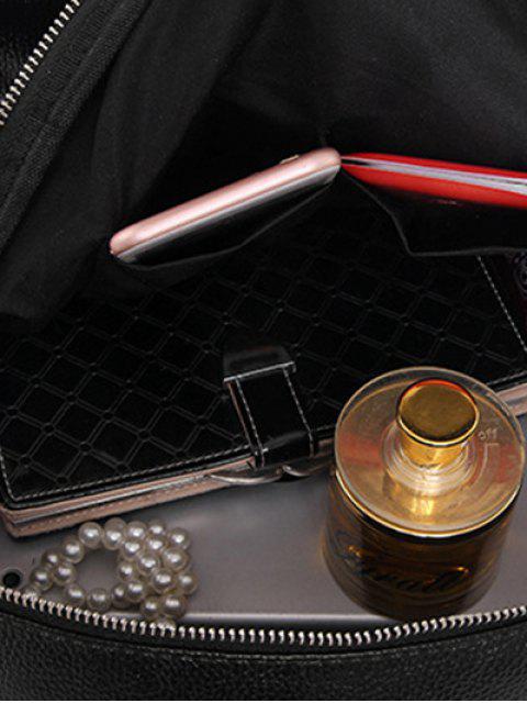 Perlage métal texturé cuir Sac à dos - Noir  Mobile