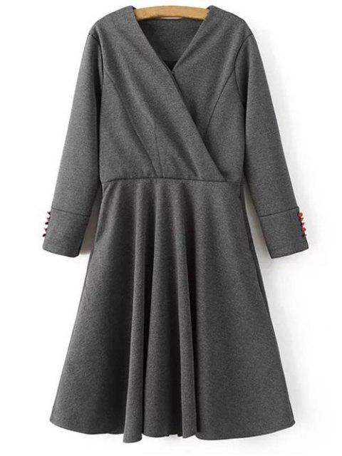 Manches longues Crossover Midi Dress - Gris M Mobile