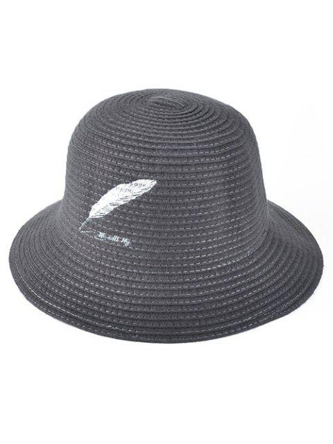 womens Feather Embroidery Knit Bucket Hat - GRAY  Mobile