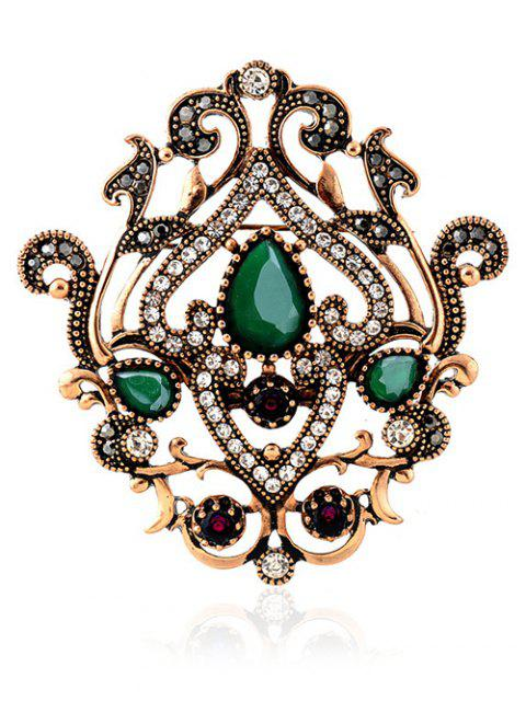new Hollow Out Artificial Gem Brooch - GREEN  Mobile