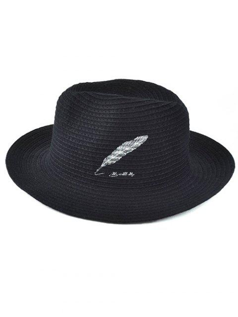 lady Feather Embroidery Knit Fedora - BLACK  Mobile