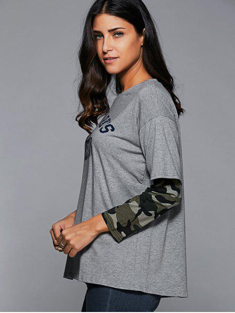 hot Layered Sleeve Funny T-Shirt - GRAY L Mobile