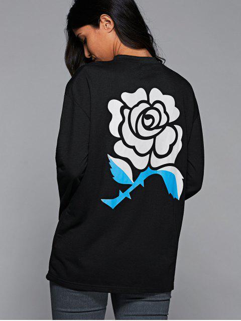 fashion Floral Print Oversized Sweatshirt - BLACK L Mobile