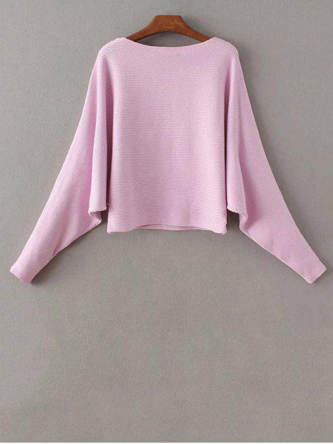 latest Bat-Wing Sleeve Sweater - PURPLE ONE SIZE Mobile