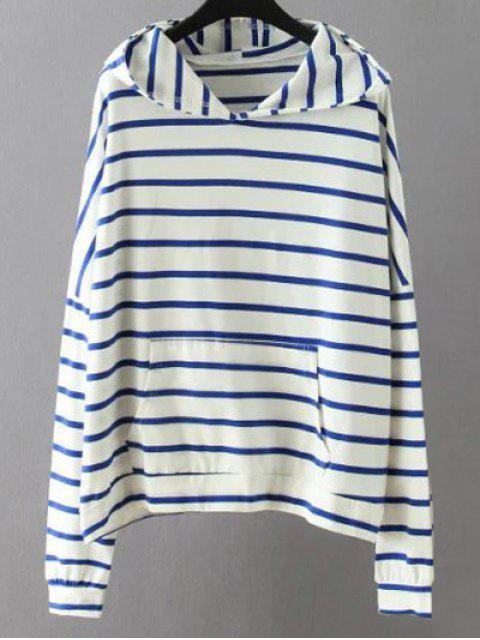 Sweat-shirt Rayé avec Poche - Blanc 2XL Mobile