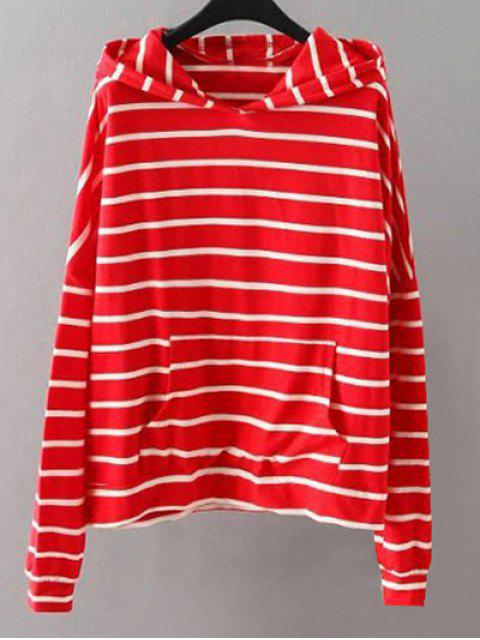 chic Pockets Striped Sweatshirt - RED XL Mobile