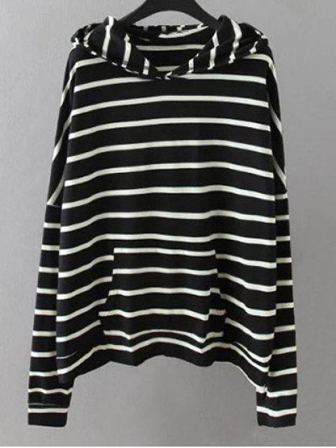unique Pockets Striped Sweatshirt - BLACK 2XL Mobile