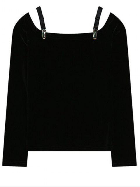 Cold Shoulder T-shirt Pleuche - Noir TAILLE MOYENNE Mobile
