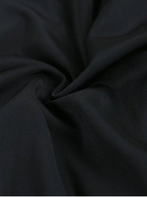 buy Cold Shoulder Pleuche T-Shirt - BLACK ONE SIZE Mobile