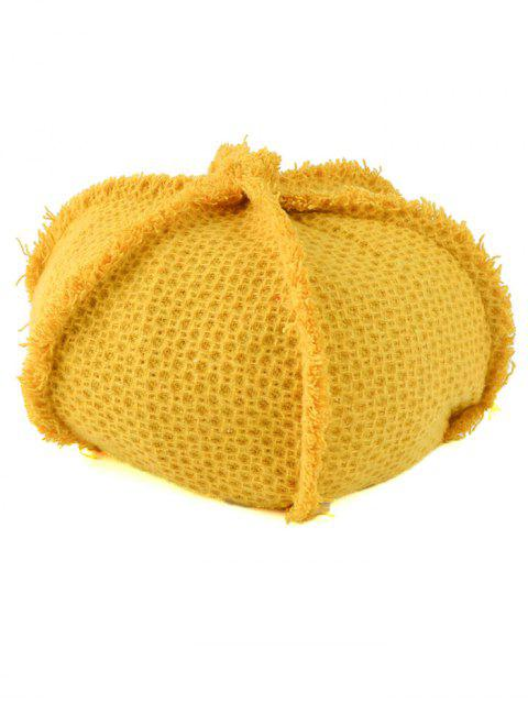fancy Crochet Knit Artist Beret - YELLOW  Mobile