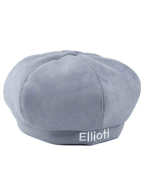 buy Letter Embroidery Faux Suede French Beret - LIGHT GRAY  Mobile
