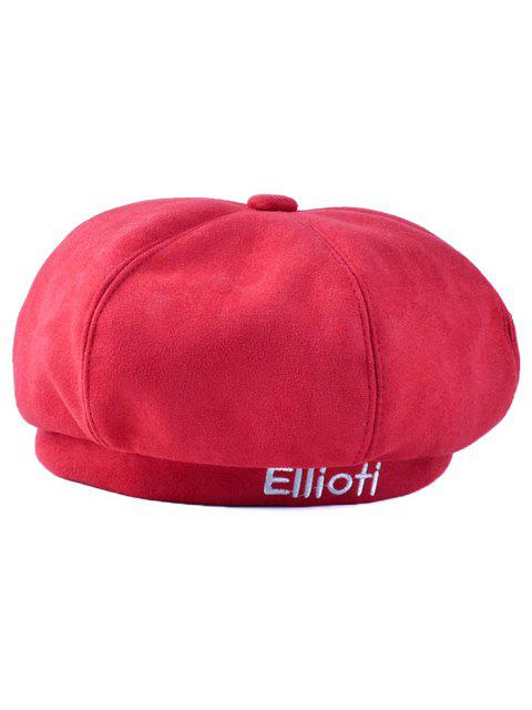 women's Letter Embroidery Faux Suede French Beret - RED  Mobile