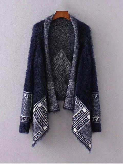 womens Fuzzy Printed Cape Cardigan - PURPLISH BLUE ONE SIZE Mobile