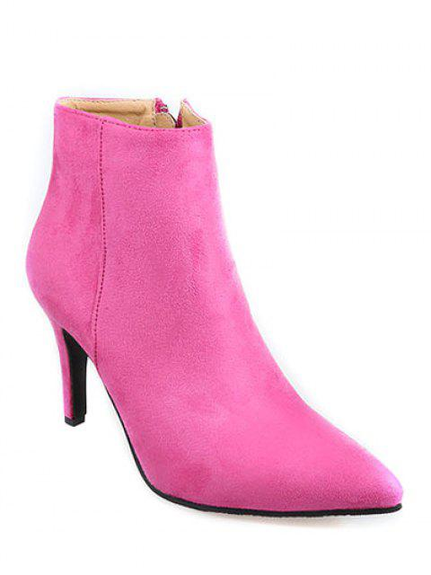 latest Flock Pointed Toe Stiletto Heel Ankle Boots - ROSE MADDER 38 Mobile
