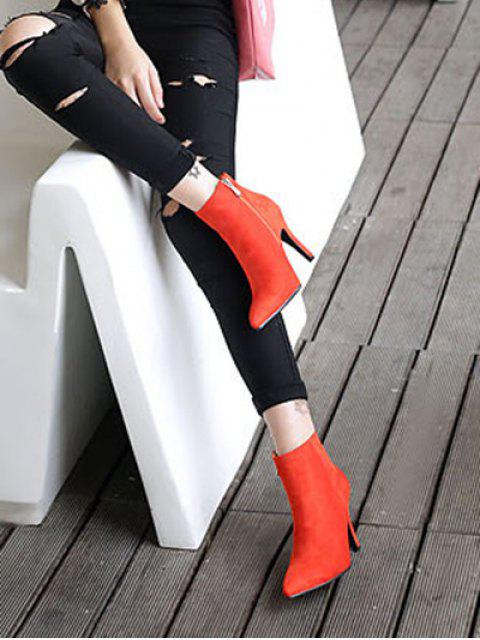 sale Flock Pointed Toe Stiletto Heel Ankle Boots -   Mobile