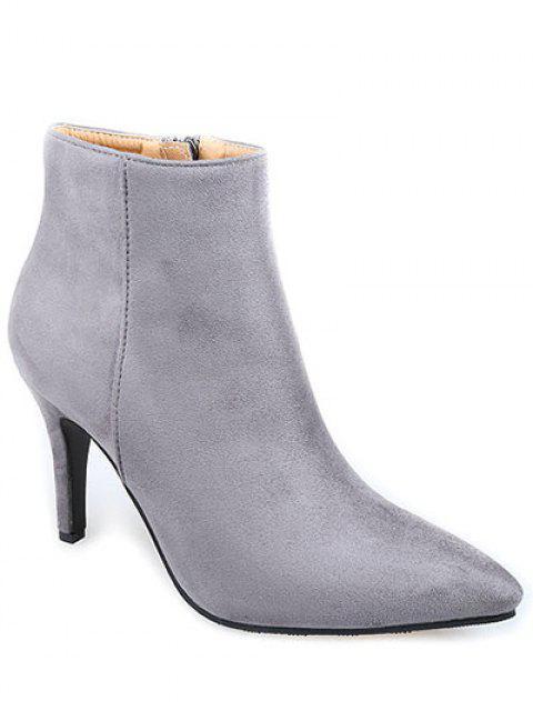 Flock punta estrecha botas de tacón de aguja de tobillo - Gris 38 Mobile