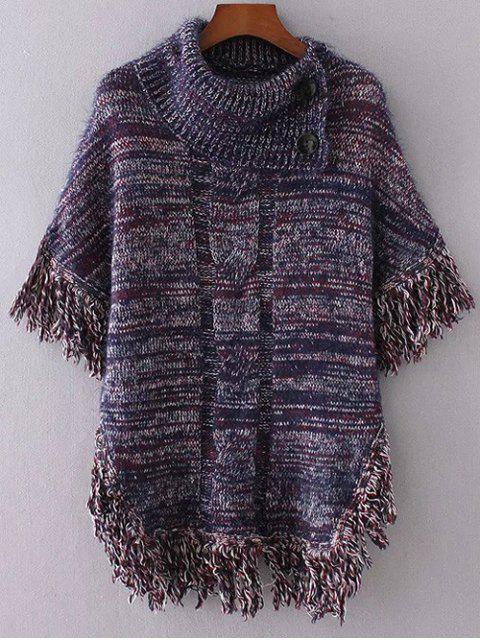 online Buttoned Cloak Tassels Sweater - PURPLISH BLUE ONE SIZE Mobile
