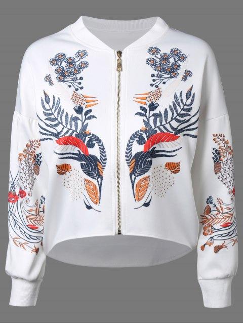 shop Drop Shoulder Dip Hem Jacket - WHITE L Mobile
