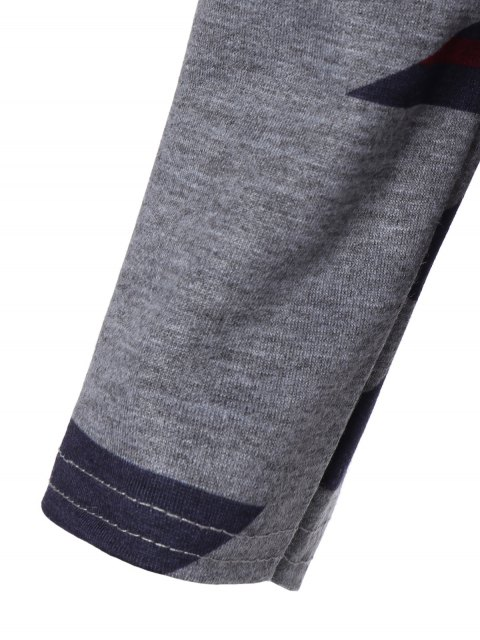 online Geometric Print Pullover Hoodie - GRAY S Mobile