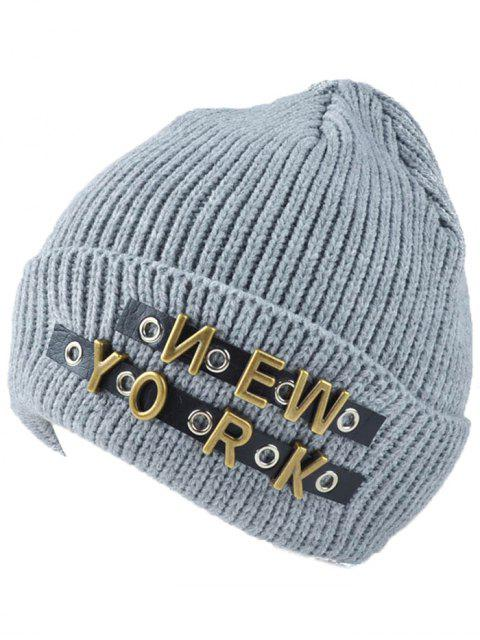 latest Letter Rivet Flanging Knit Hat - LIGHT GRAY  Mobile