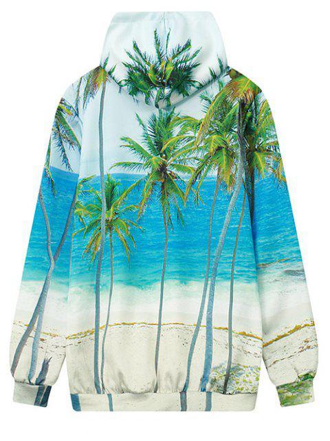 lady Coconut Palm Print Hoodie - OCEAN BLUE M Mobile