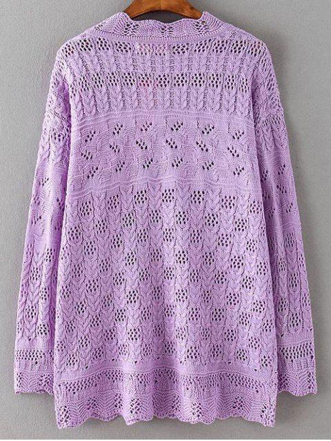 Casual Cut Out Sweater - Pourpre 2XL Mobile
