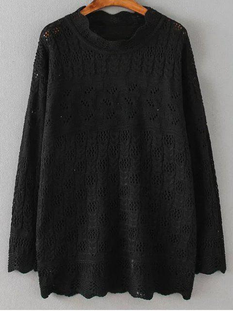 latest Casual Cut Out Sweater - BLACK 4XL Mobile
