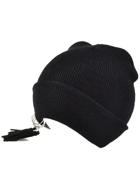 outfits Tassels Pendant Knit Hat - BLACK  Mobile