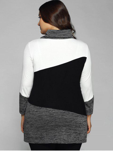 new Heathered Cowl Neck Plus Size Blouse - WHITE AND BLACK 3XL Mobile