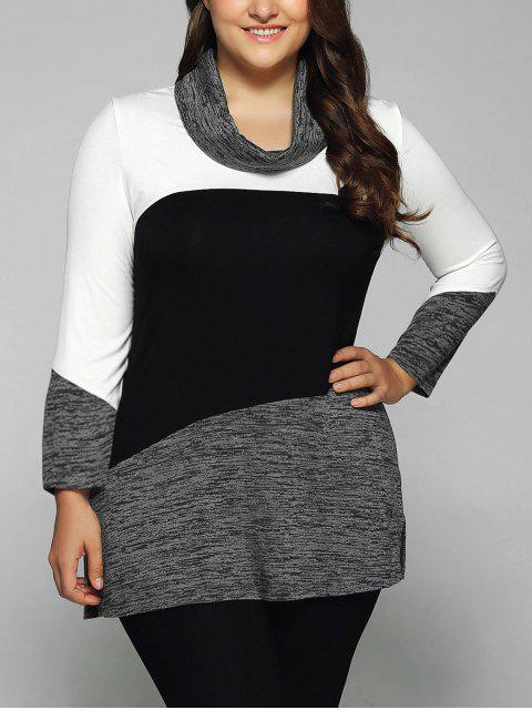 hot Heathered Cowl Neck Plus Size Blouse - WHITE AND BLACK 5XL Mobile