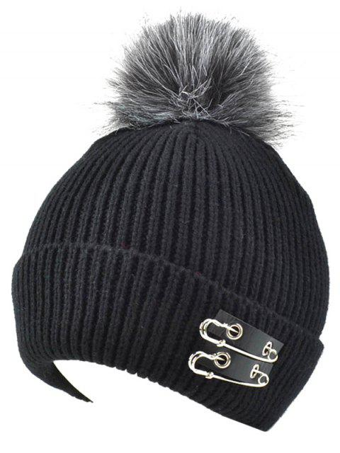 Knit Safe Pin Fuzzy Boule Hat - Noir  Mobile