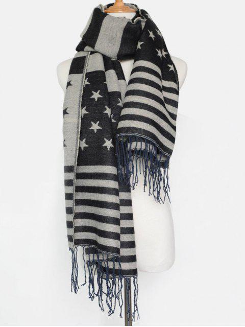 new American Flag Pattern Tassel Shawl Scarf -   Mobile