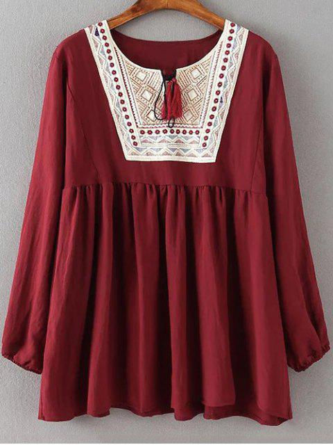 best Ruched Loose Embroidered Blouse - WINE RED XL Mobile